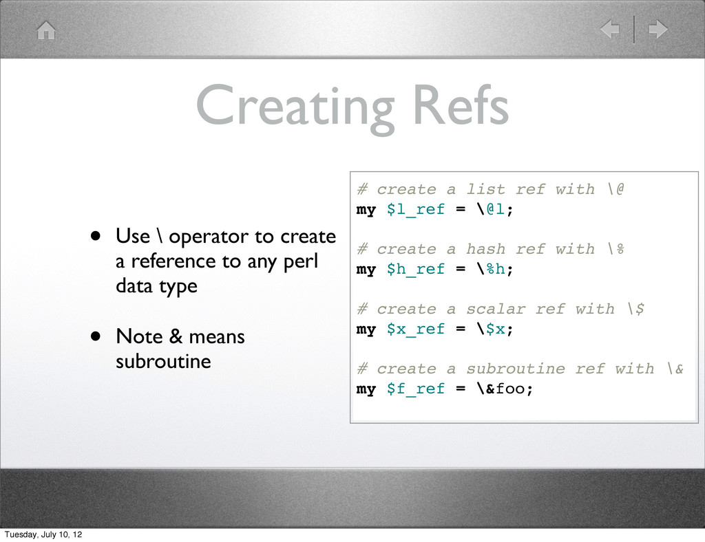 Creating Refs • Use \ operator to create a refe...