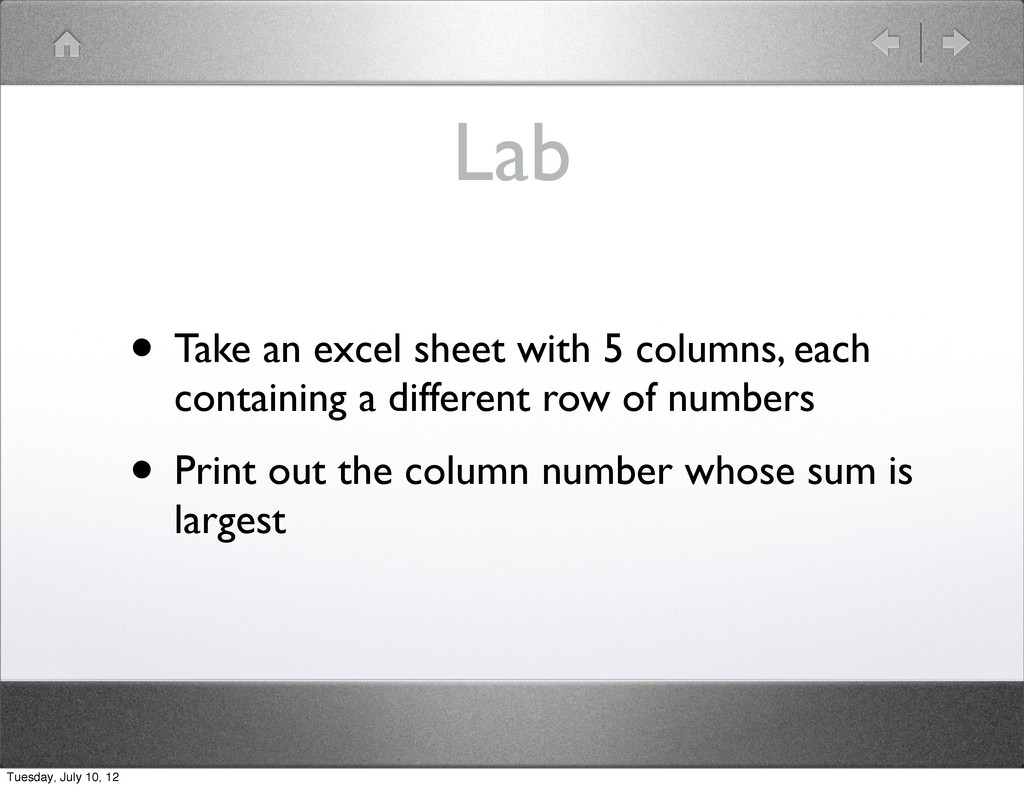 Lab • Take an excel sheet with 5 columns, each ...