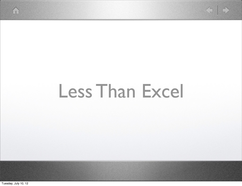Less Than Excel Tuesday, July 10, 12