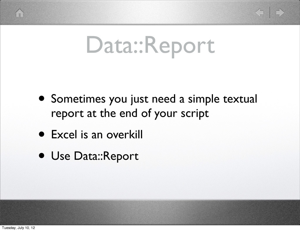 Data::Report • Sometimes you just need a simple...