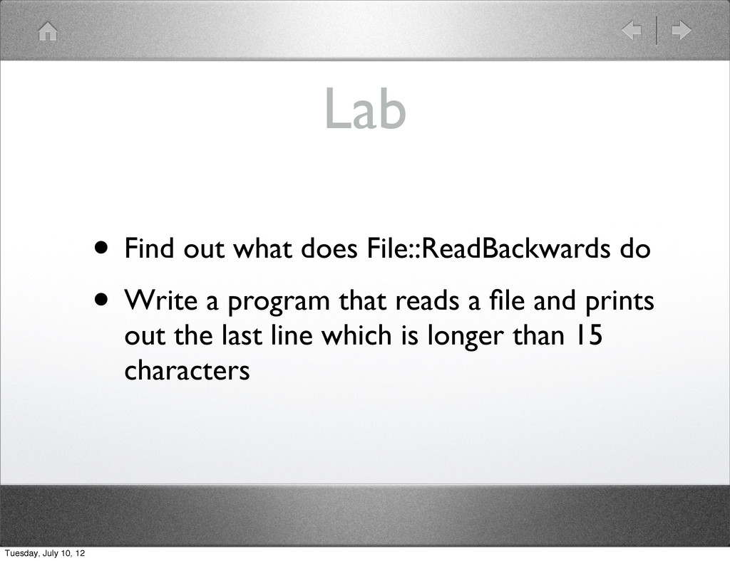 Lab • Find out what does File::ReadBackwards do...
