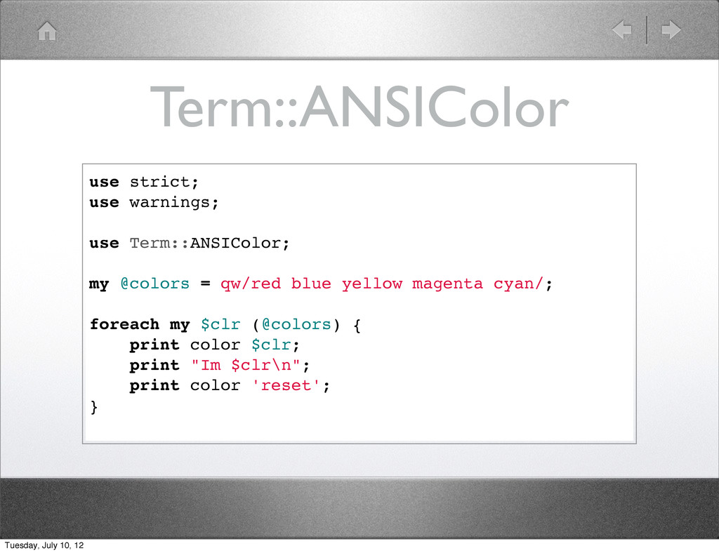 Term::ANSIColor use strict; use warnings; use T...