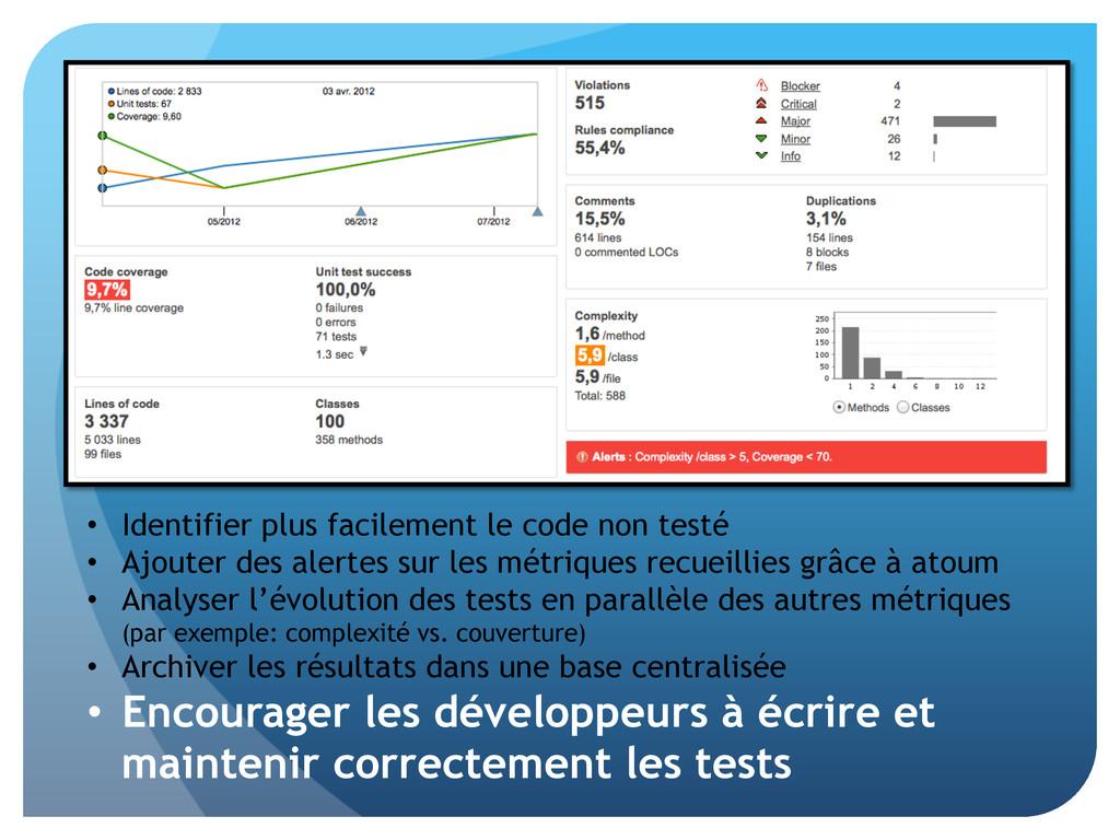 • Identifier plus facilement le code non testé...