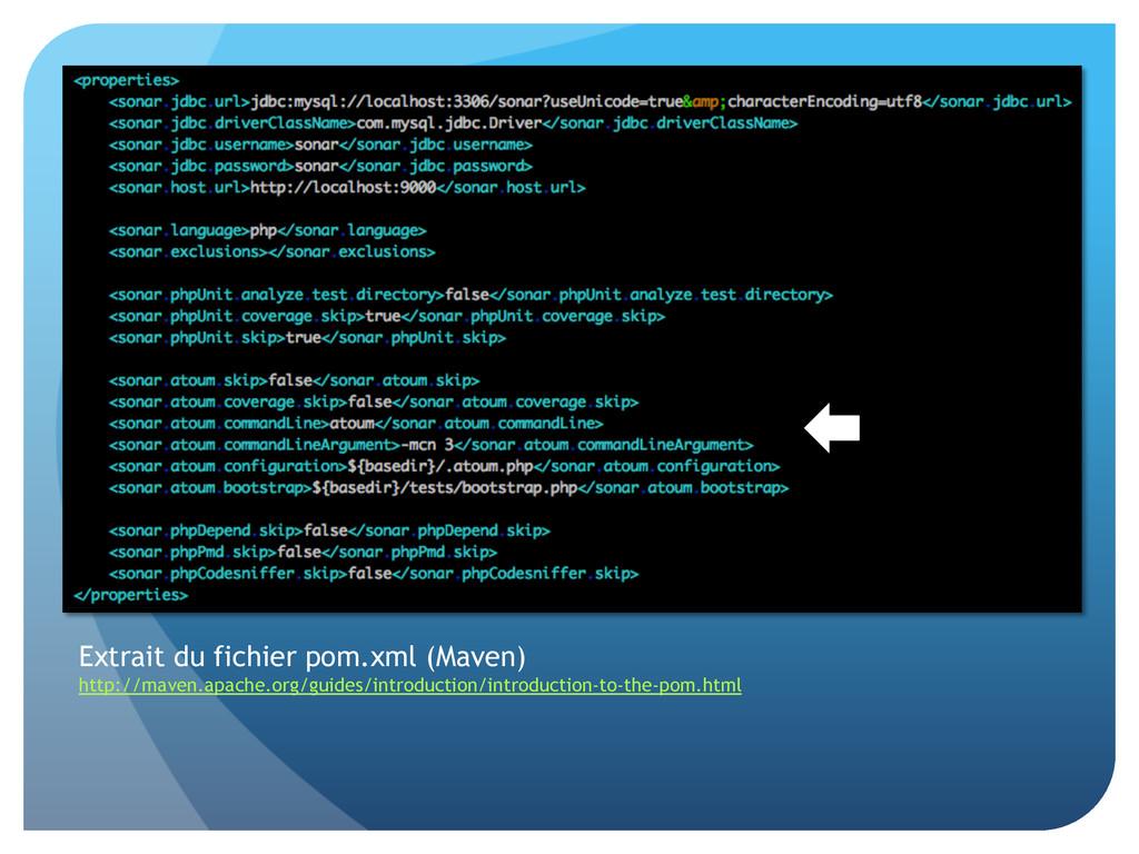 Extrait du fichier pom.xml (Maven) http://maven...