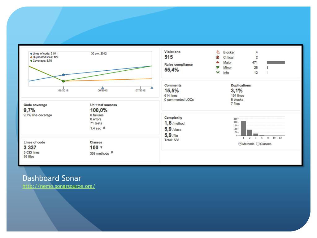 Dashboard Sonar http://nemo.sonarsource.org/