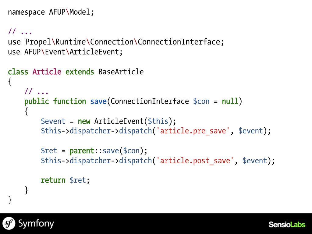 namespace AFUP\Model; // ... use Propel\Runtime...