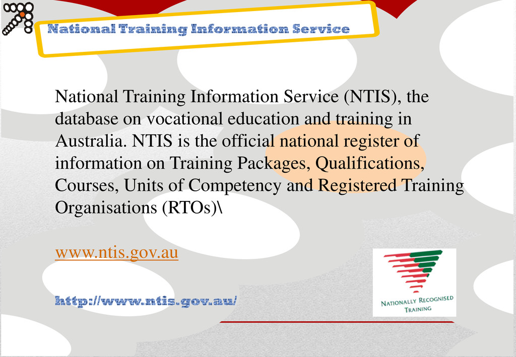 National Training Information Service (NTIS), t...