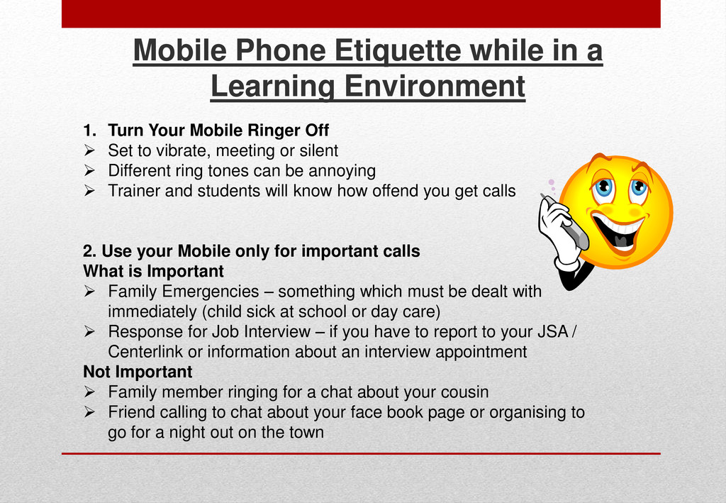 Mobile Phone Etiquette while in a Learning Envi...
