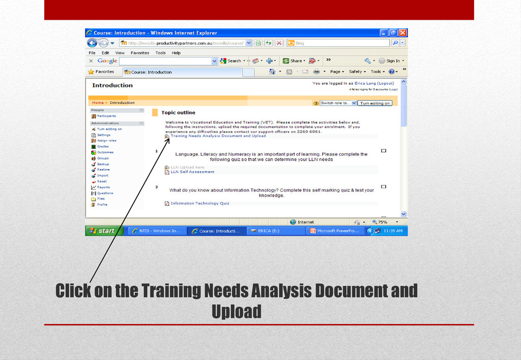 Click on the Training Needs Analysis Document a...