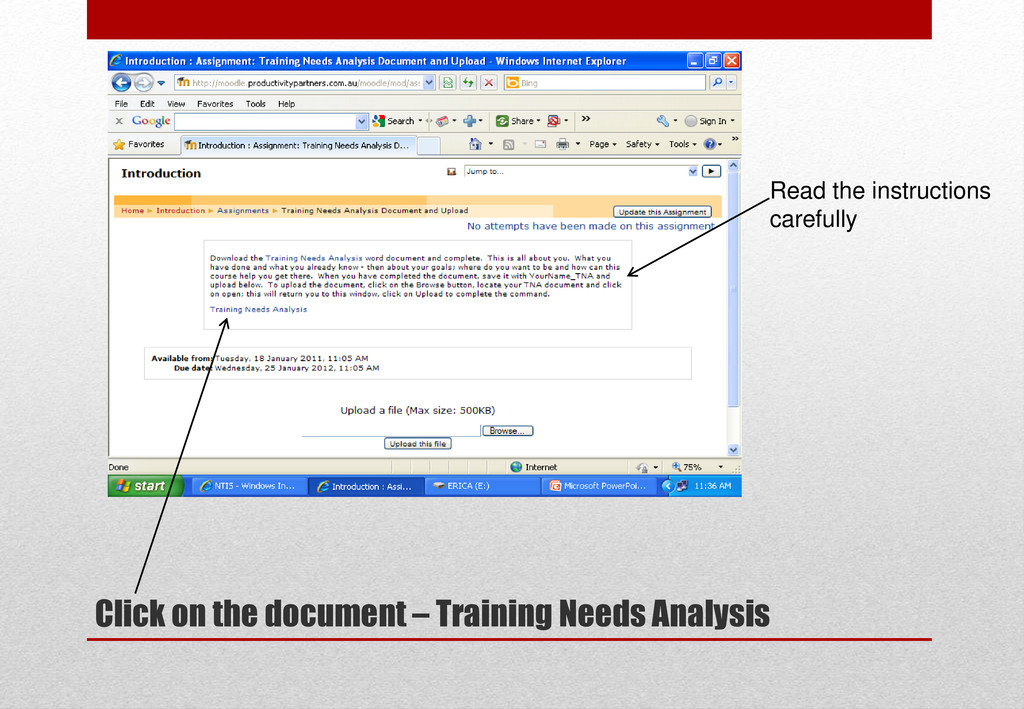 Click on the document – Training Needs Analysis...
