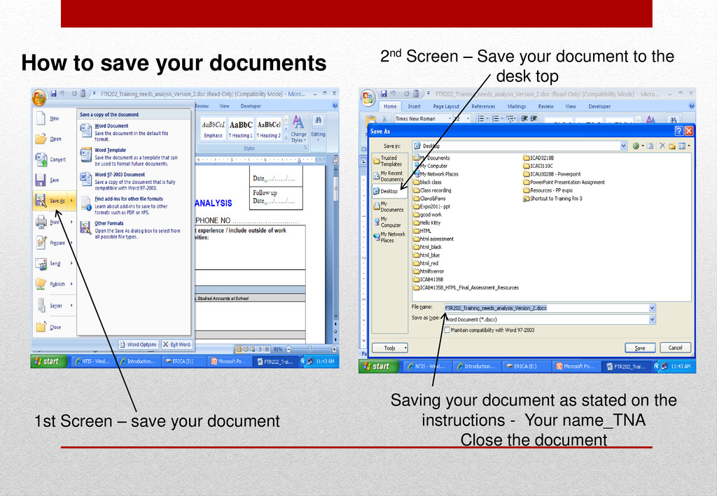 1st Screen – save your document Saving your doc...
