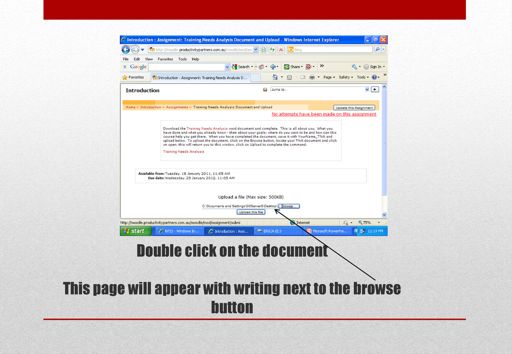 Double click on the document This page will app...