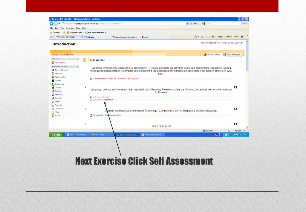 Next Exercise Click Self Assessment