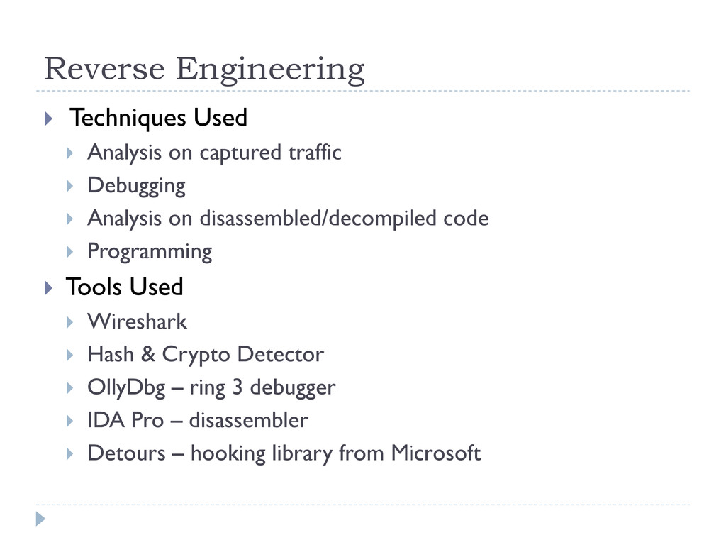 Reverse Engineering  Techniques Used  Analysi...
