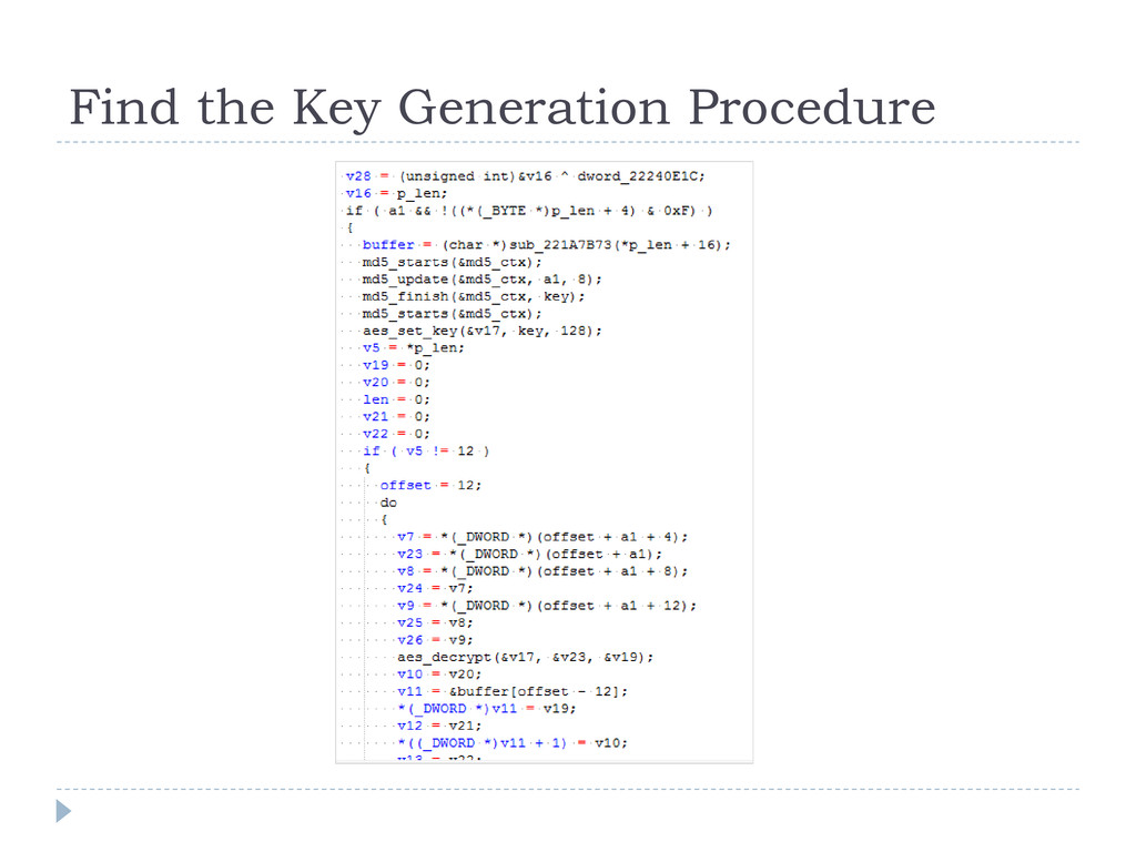 Find the Key Generation Procedure