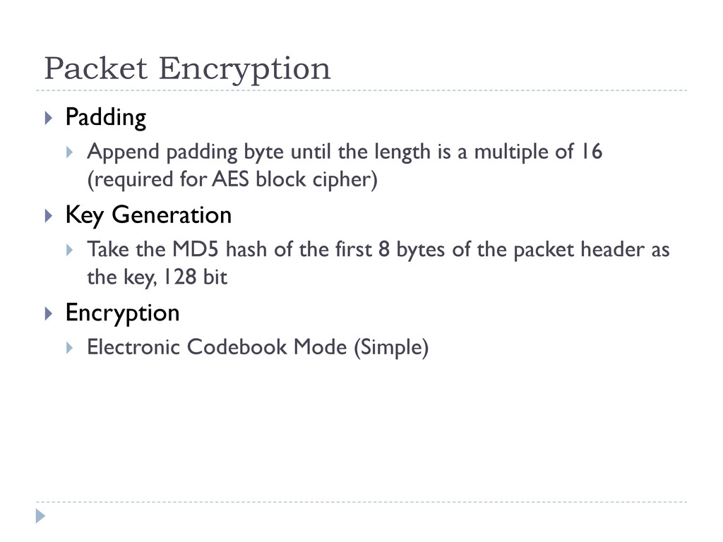 Packet Encryption  Padding  Append padding by...