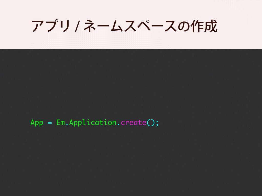 App = Em.Application.create(); ΞϓϦωʔϜεϖʔεͷ࡞