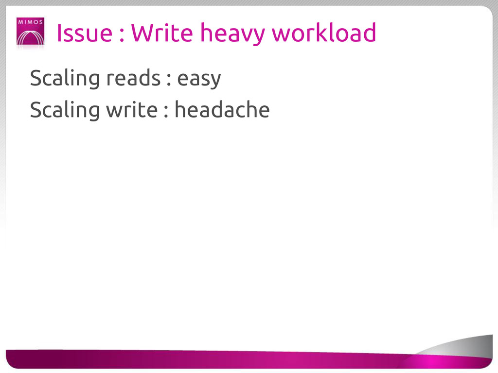 Issue : Write heavy workload Scaling reads : ea...