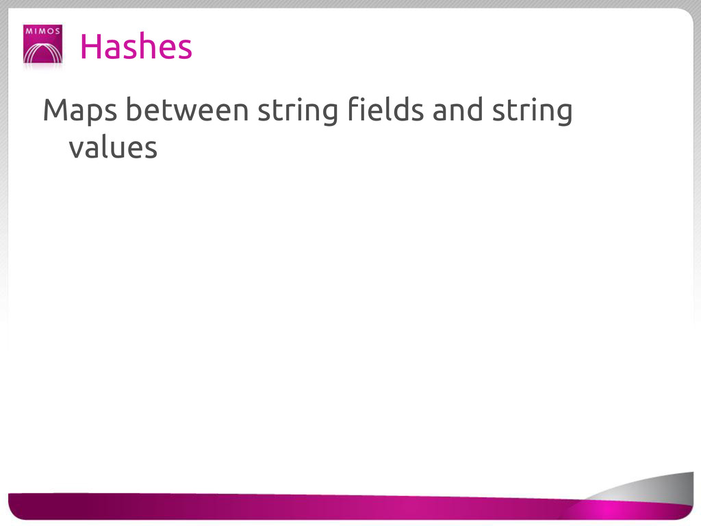 Hashes Maps between string fields and string va...