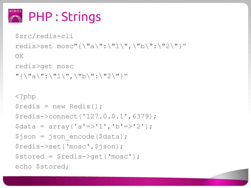 """PHP : Strings $src/redis-cli redis>set mosc""""{\""""..."""
