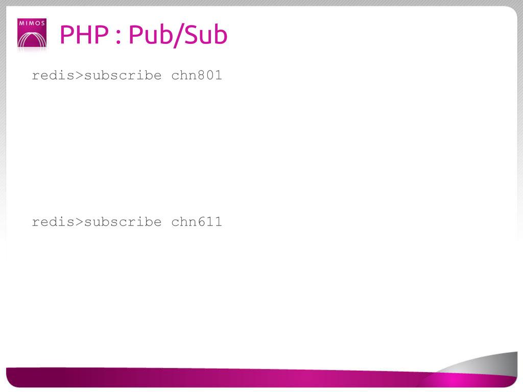 PHP : Pub/Sub redis>subscribe chn801 redis>subs...