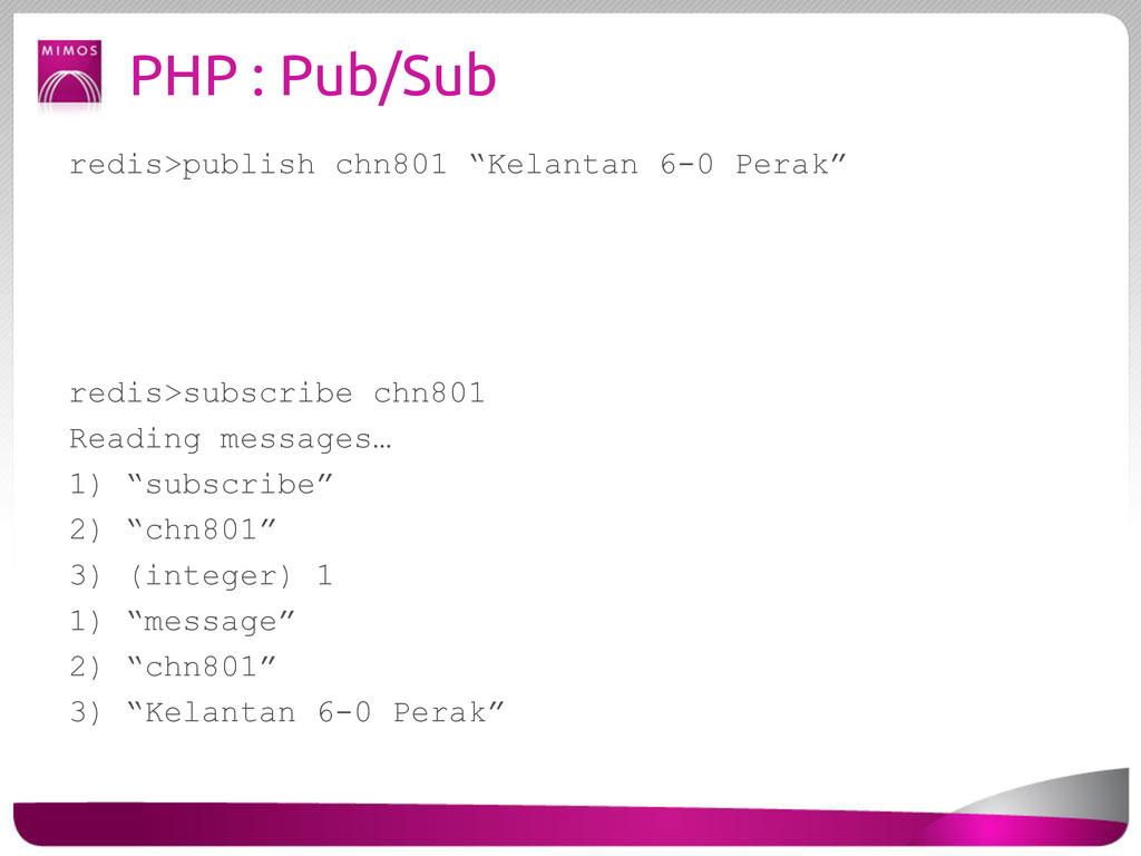 """PHP : Pub/Sub redis>publish chn801 """"Kelantan 6-..."""