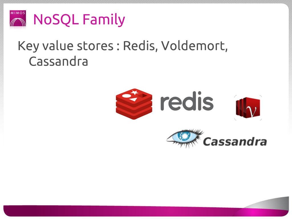 NoSQL Family Key value stores : Redis, Voldemor...