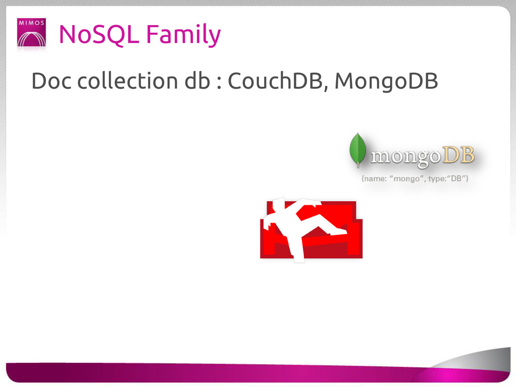 NoSQL Family Doc collection db : CouchDB, Mongo...