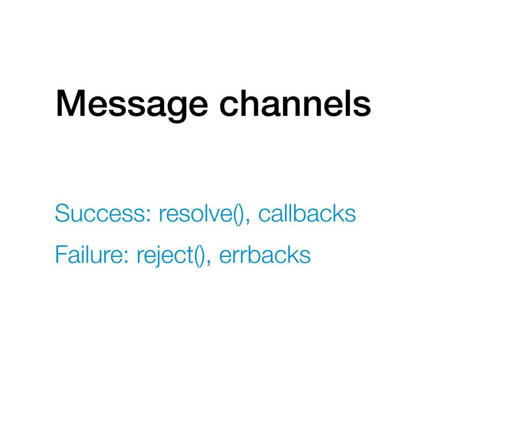 Message channels Success: resolve(), callbacks ...