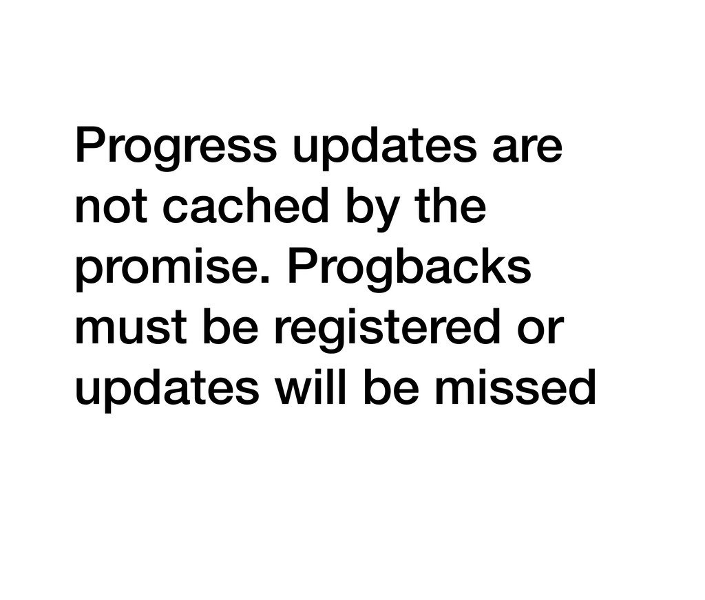 Progress updates are not cached by the promise....