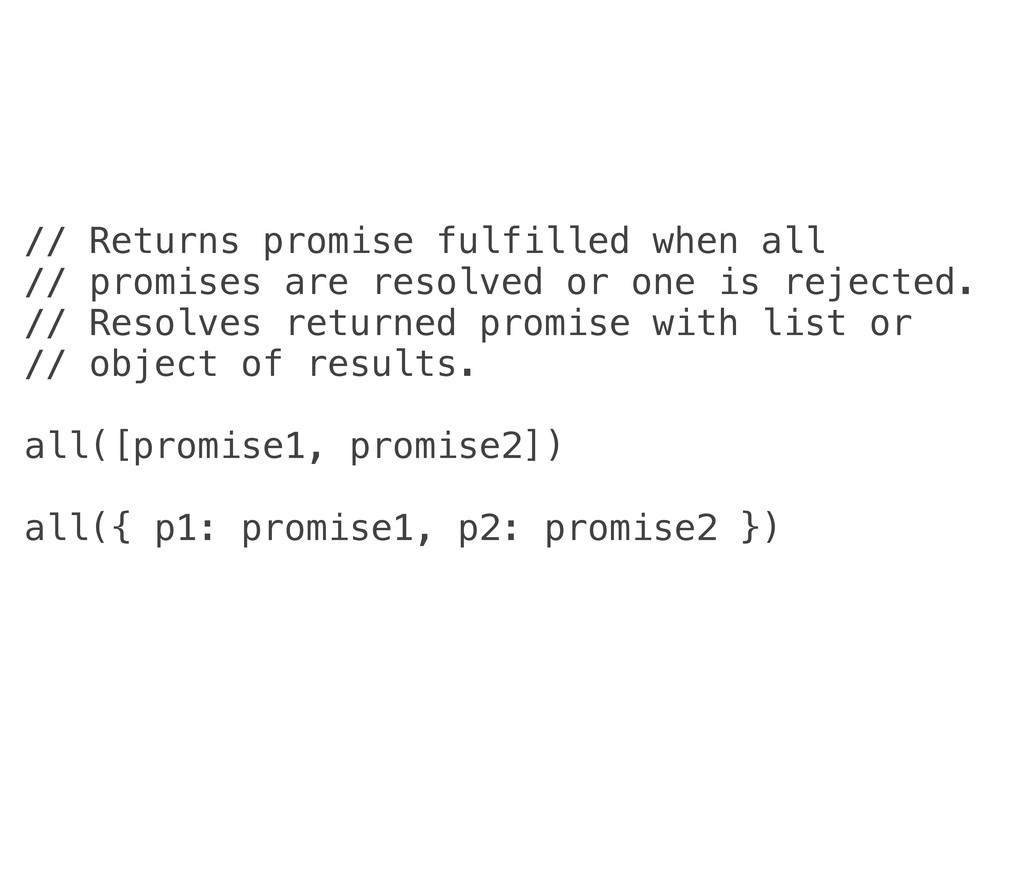 // Returns promise fulfilled when all // promis...