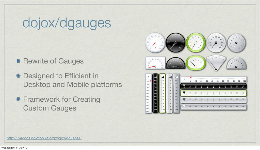 dojox/dgauges Rewrite of Gauges Designed to Effi...