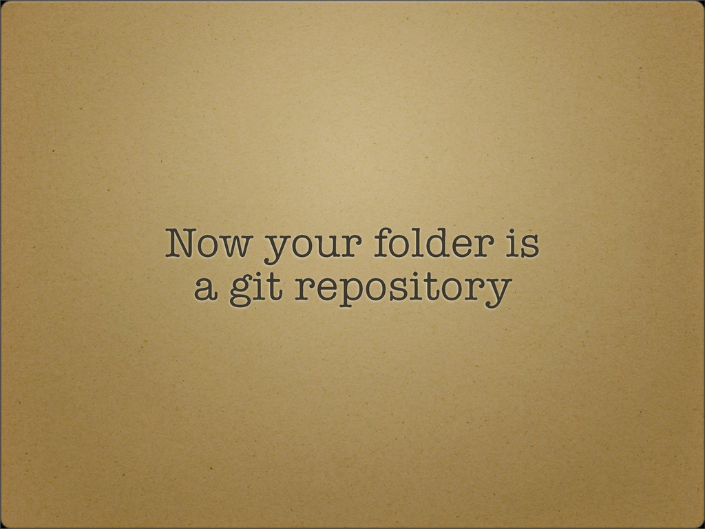Now your folder is a git repository