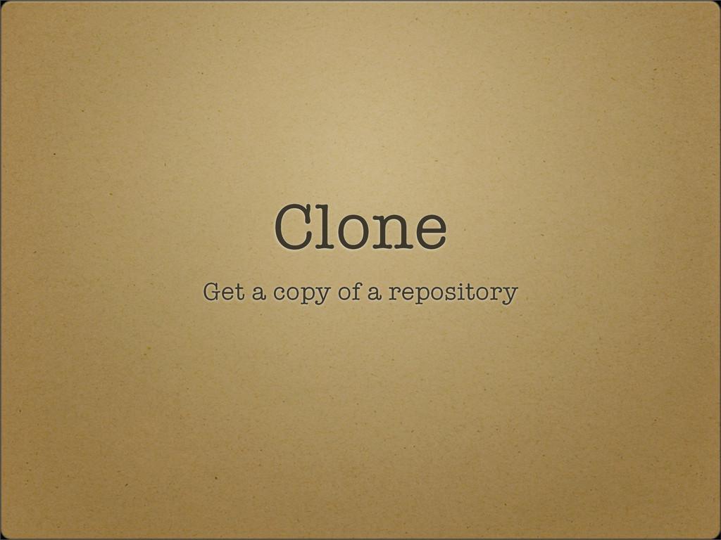 Clone Get a copy of a repository