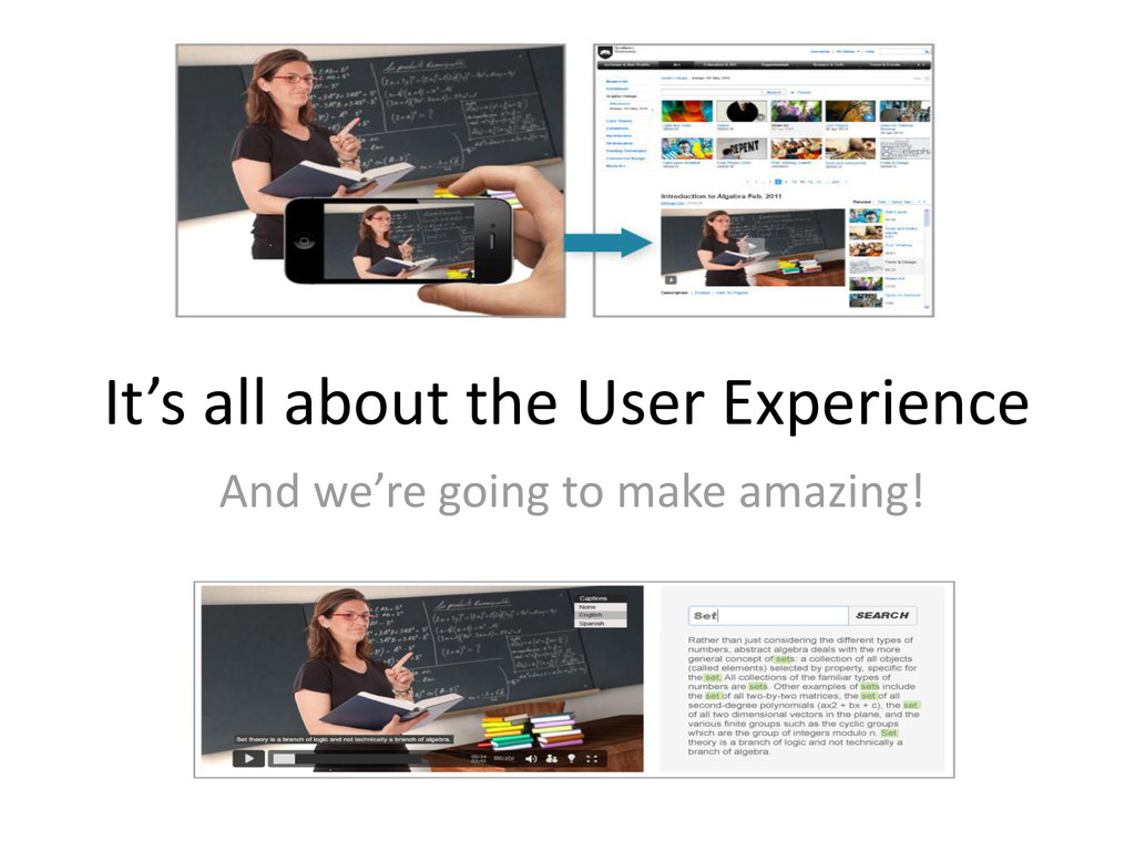It's all about the User Experience And we're go...