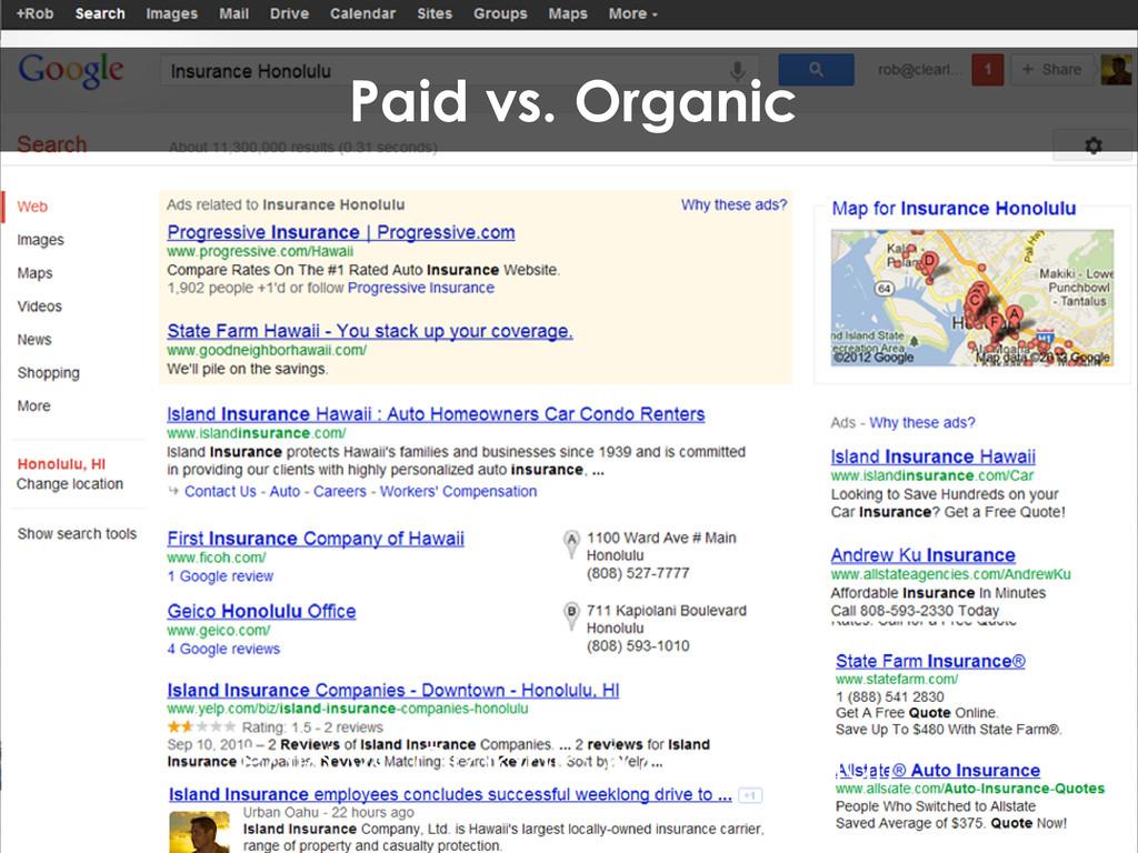 Paid vs. Organic (Local/Social) Paid vs. Organic