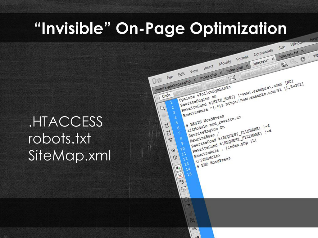 """""""Invisible"""" On-Page Optimization .HTACCESS robo..."""