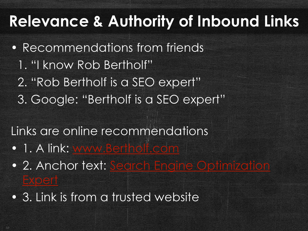 Relevance & Authority of Inbound Links • Recomm...