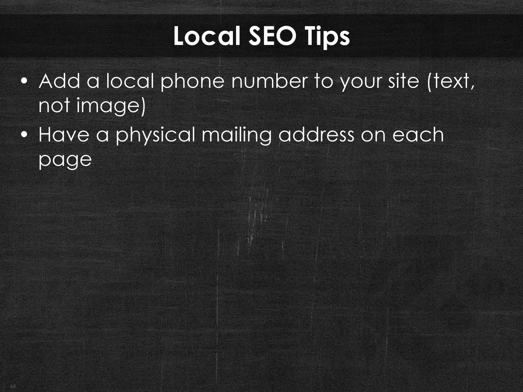 Local SEO Tips • Add a local phone number to yo...