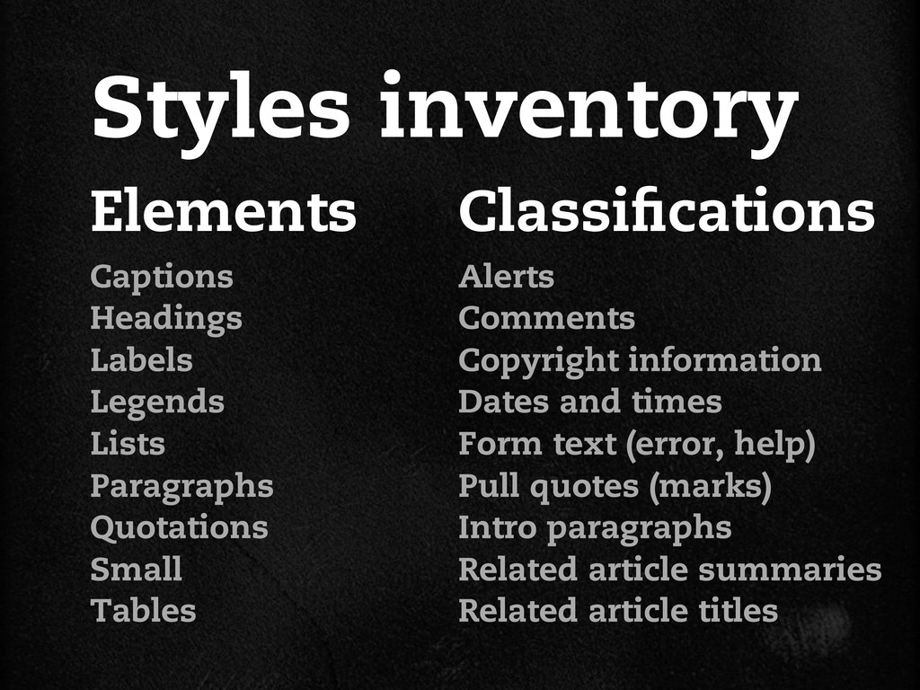 Elements Styles inventory Captions Headings Lab...