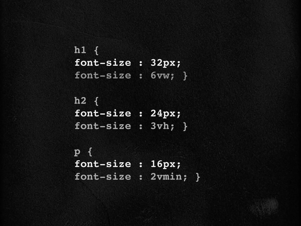 h1 { font-size : 32px; font-size : 6vw; } h2 { ...