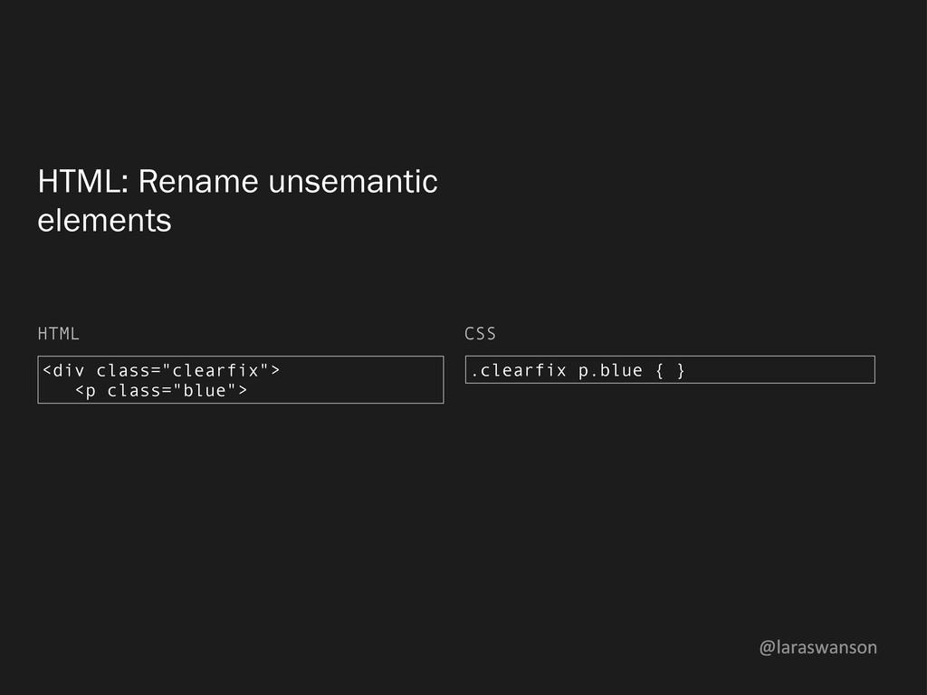 @laraswanson HTML: Rename unsemantic elements <...