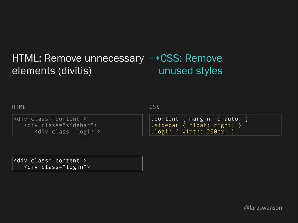 @laraswanson HTML: Remove unnecessary elements ...