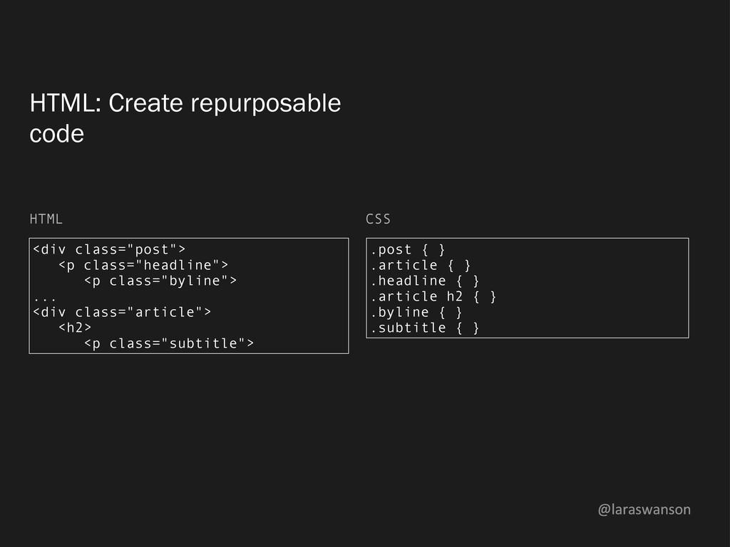 @laraswanson HTML: Create repurposable code <di...