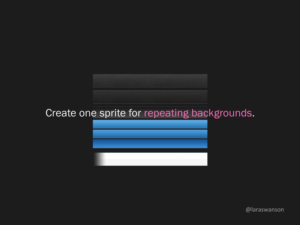 @laraswanson Create one sprite for repeating ba...