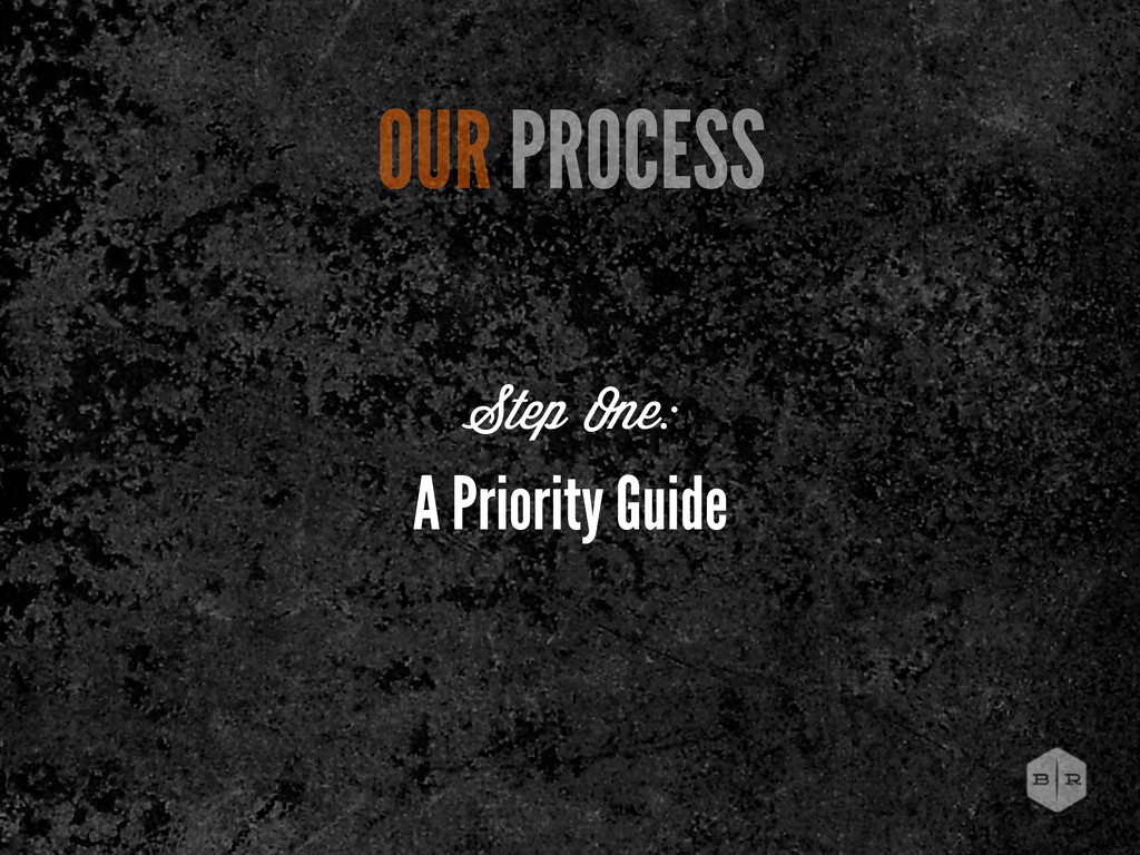 A Priority Guide OUR PROCESS Step One: