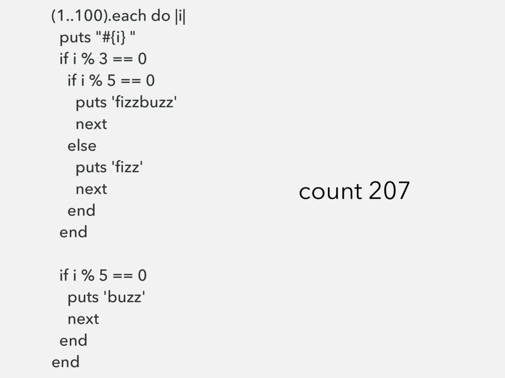 "(1..100).each do |i| puts ""#{i} "" if i % 3 == 0..."
