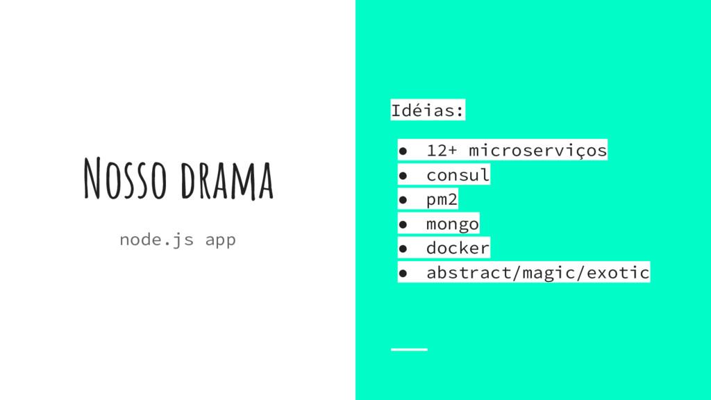 Nosso drama node.js app Idéias: ● 12+ microserv...