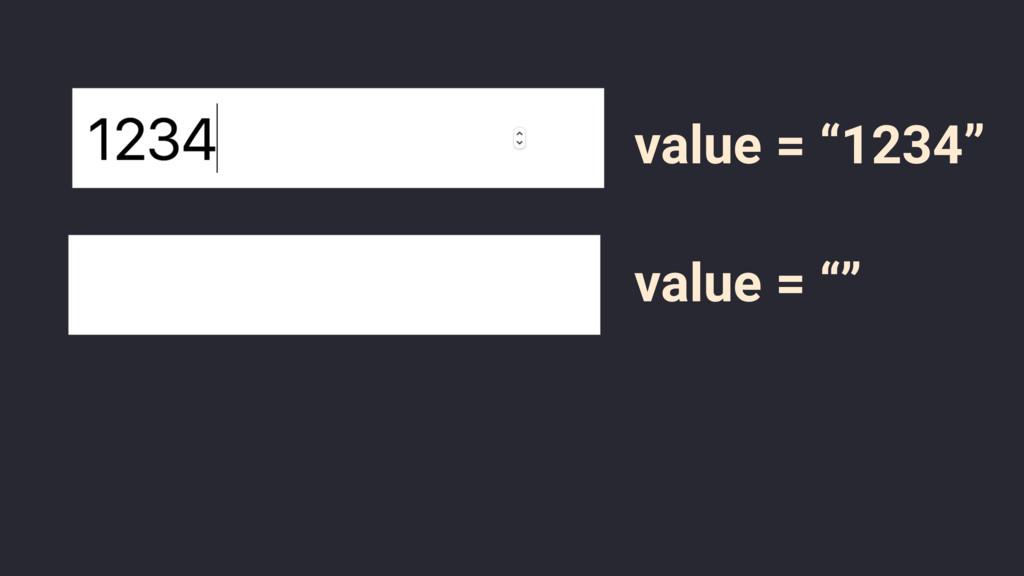 "value = ""1234"" value = """""