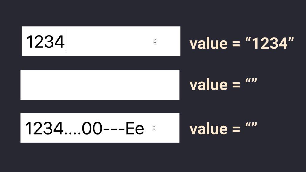 "value = ""1234"" value = """" value = """""